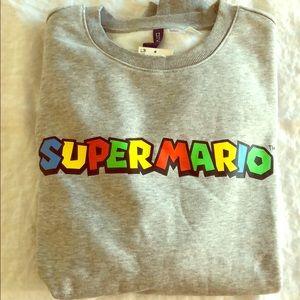 Mens Super Mario crew neck grey sweater H&M